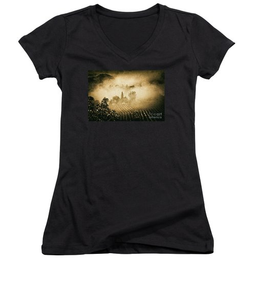 Women's V-Neck T-Shirt (Junior Cut) featuring the photograph Foggy Tuscany by Silvia Ganora