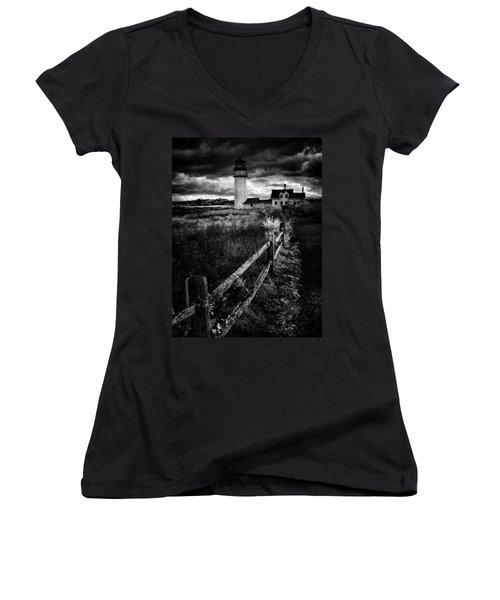 Follow Me Women's V-Neck T-Shirt (Junior Cut) by Robert McCubbin