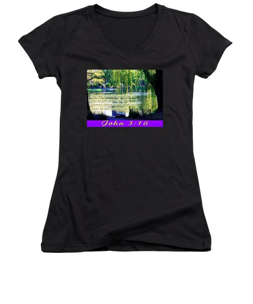 For God So Loved- Women's V-Neck T-Shirt (Junior Cut) by Terry Wallace