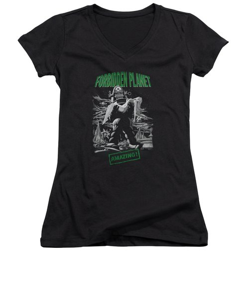 Forbidden Planet - Robot Poster Women's V-Neck T-Shirt