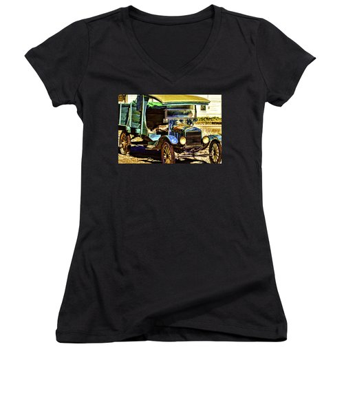 Women's V-Neck T-Shirt (Junior Cut) featuring the painting Ford by Muhie Kanawati