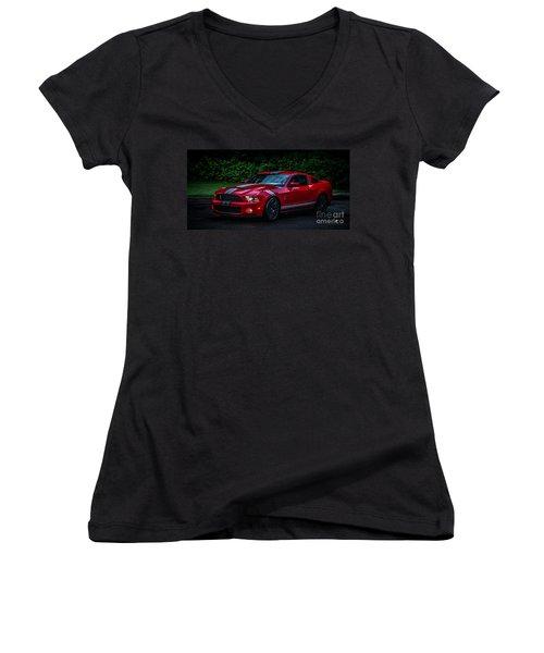 Ford Mustang Gt 500 Cobra Women's V-Neck T-Shirt