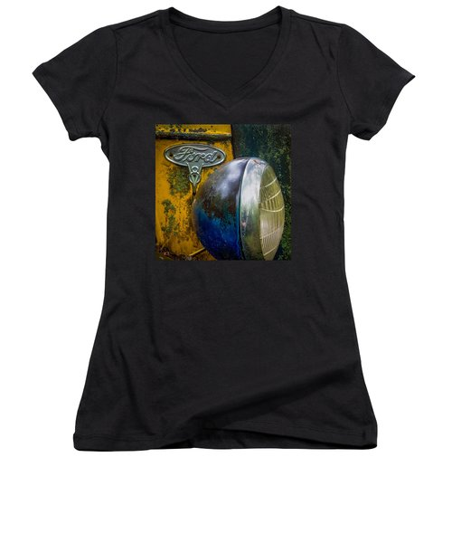 Ford V8 Emblem Women's V-Neck T-Shirt (Junior Cut) by Paul Freidlund