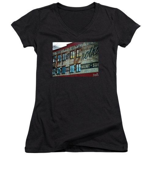 Fords Restaurant In Greenville Sc Women's V-Neck T-Shirt (Junior Cut) by Kathy Barney