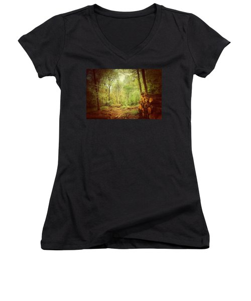 Forest Women's V-Neck T-Shirt (Junior Cut) by Daniel Precht