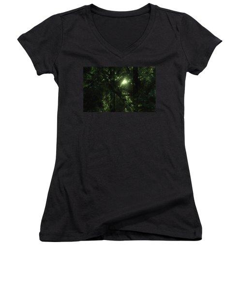 Women's V-Neck T-Shirt (Junior Cut) featuring the digital art Forest Light by GJ Blackman