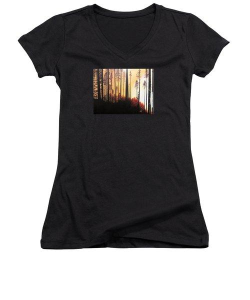 Forest Sunrise Women's V-Neck T-Shirt