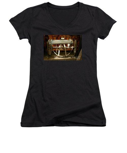 Women's V-Neck T-Shirt featuring the photograph Forgotten by Christiane Hellner-OBrien