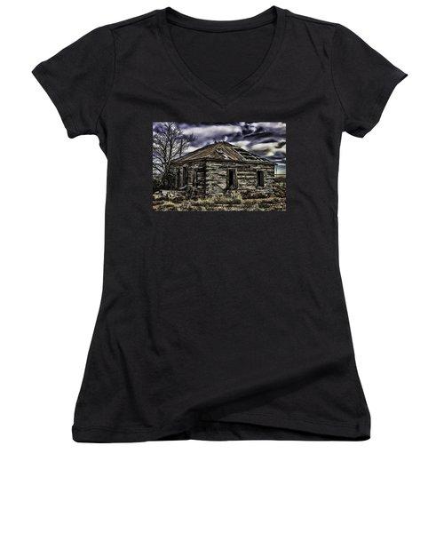 Women's V-Neck T-Shirt (Junior Cut) featuring the painting Forgotten by Muhie Kanawati