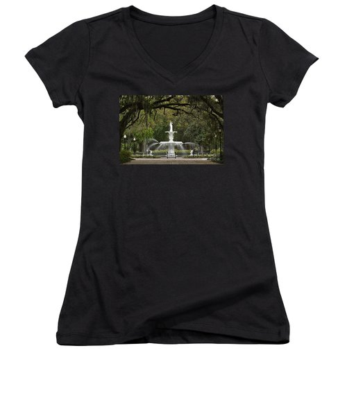 Forsyth Park Fountain - D002615 Women's V-Neck (Athletic Fit)
