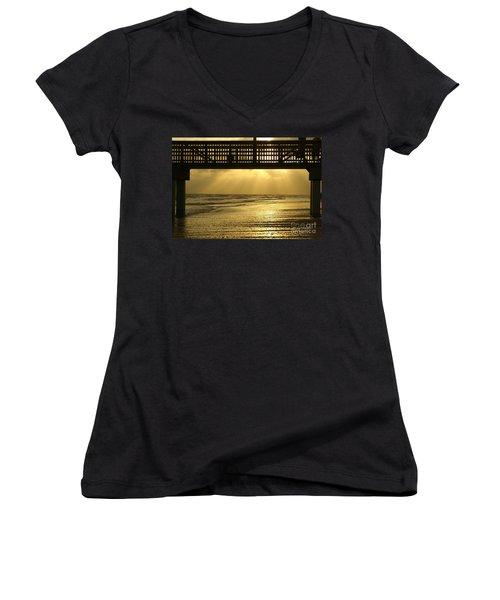 Fort Myers Golden Sunset Women's V-Neck T-Shirt (Junior Cut) by Jennifer White