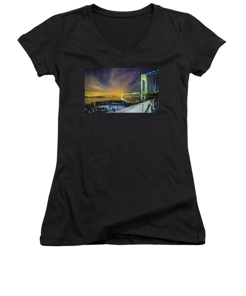 Fort Wadsworth And Verrazano Bridge Women's V-Neck T-Shirt (Junior Cut)