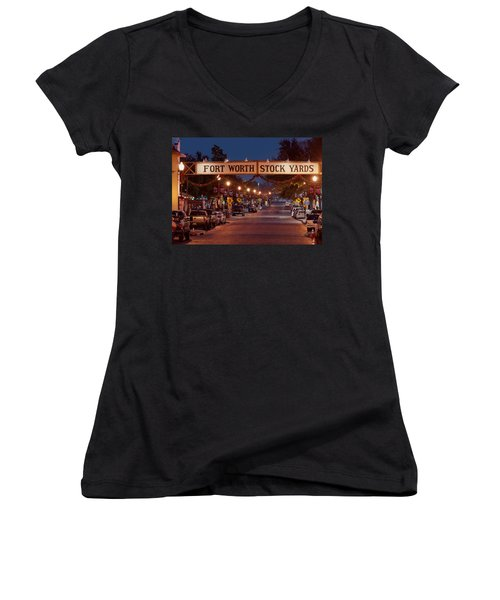 Fort Worth Stock Yards Night Women's V-Neck