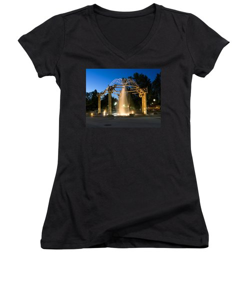 Fountain In Riverfront Park Women's V-Neck (Athletic Fit)