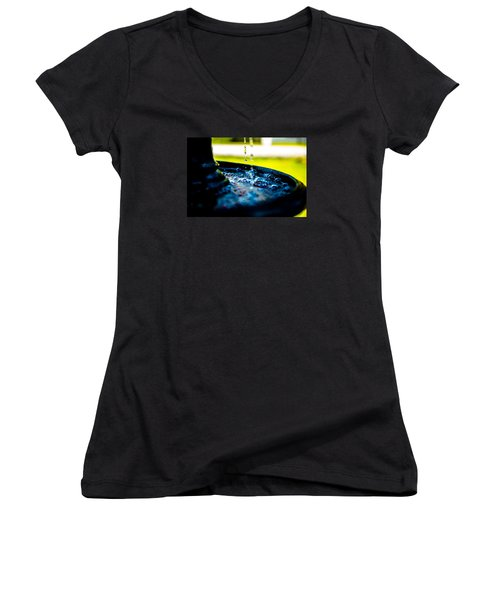 Women's V-Neck T-Shirt (Junior Cut) featuring the photograph Fountain Of Time by Mez