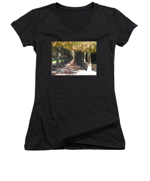 Women's V-Neck T-Shirt (Junior Cut) featuring the photograph Fountainebleau - Under The Trees by HEVi FineArt