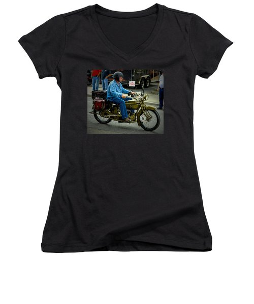 Four Cylinder Henderson Motorcycle Women's V-Neck