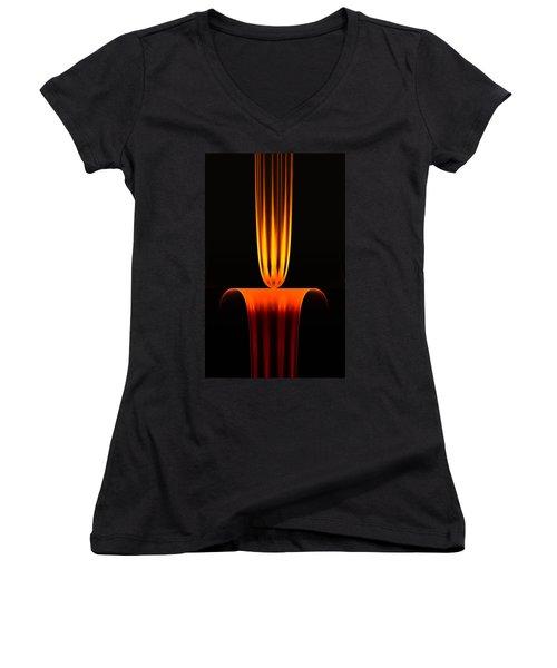 Women's V-Neck T-Shirt (Junior Cut) featuring the digital art Fractal Flame by GJ Blackman