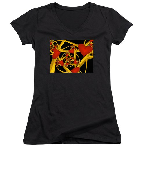 Fractal Love Ist Gold Women's V-Neck T-Shirt (Junior Cut) by Gabiw Art