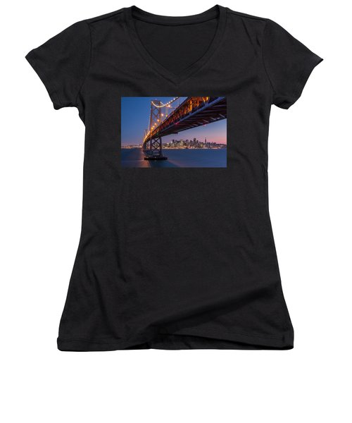 Framing San Francisco Women's V-Neck T-Shirt (Junior Cut) by Mihai Andritoiu