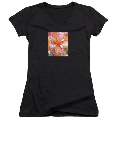 Frangipani Women's V-Neck T-Shirt (Junior Cut) by Elvira Ingram