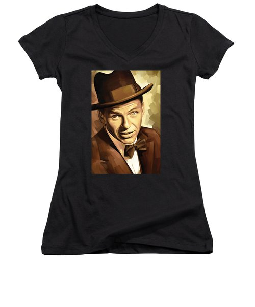 Frank Sinatra Artwork 2 Women's V-Neck T-Shirt (Junior Cut) by Sheraz A