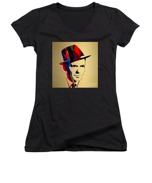 Women's V-Neck T-Shirt (Junior Cut) featuring the mixed media Frank Sinatra Art by Marvin Blaine