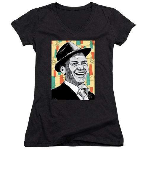 Frank Sinatra Pop Art Women's V-Neck T-Shirt (Junior Cut) by Jim Zahniser