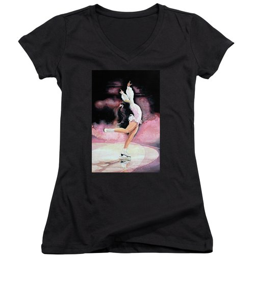Women's V-Neck (Athletic Fit) featuring the painting Free Spirit by Hanne Lore Koehler