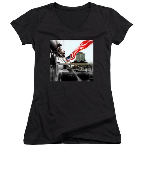 Freedom Sails Women's V-Neck T-Shirt (Junior Cut) by Michael Hoard