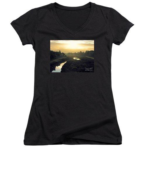 Women's V-Neck T-Shirt (Junior Cut) featuring the photograph Fremont Dawn by Ellen Cotton