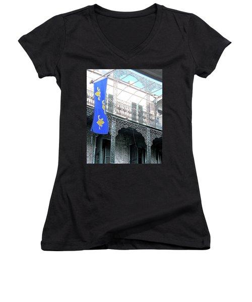 Women's V-Neck T-Shirt (Junior Cut) featuring the photograph French Quarter Nola by Lizi Beard-Ward