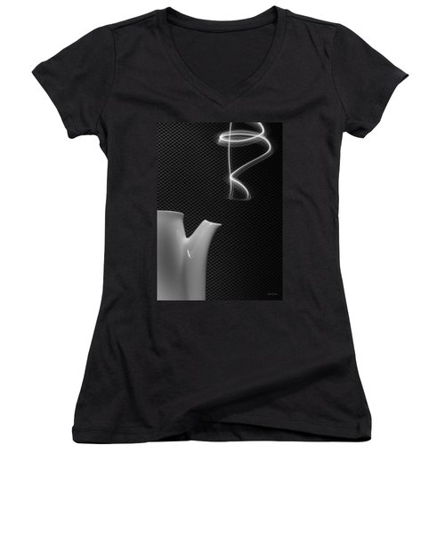 Women's V-Neck T-Shirt (Junior Cut) featuring the photograph Fresh Pot Of Coffee- Light Painting by Steven Milner