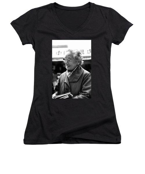 Women's V-Neck T-Shirt (Junior Cut) featuring the photograph Friendly Stranger by Ellen Cotton