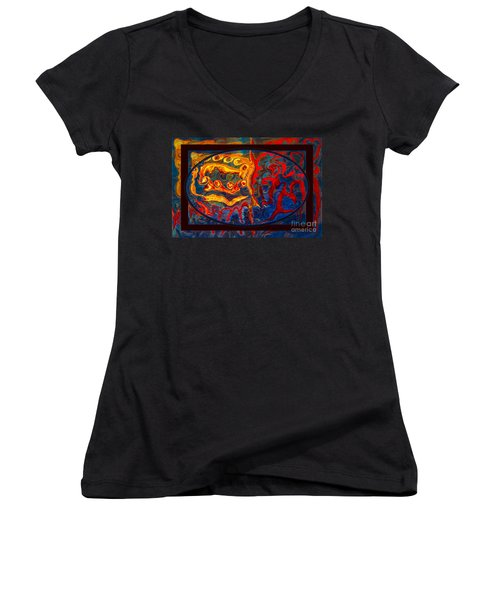 Friendship And Love Abstract Healing Art Women's V-Neck
