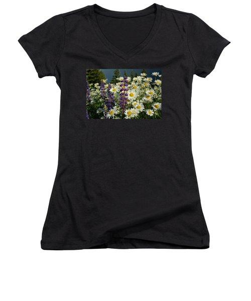 Women's V-Neck T-Shirt (Junior Cut) featuring the photograph Frisco Flowers by Lynn Bauer