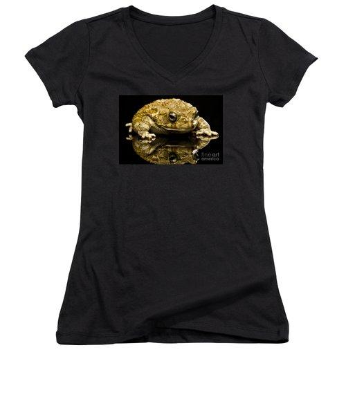 Women's V-Neck T-Shirt (Junior Cut) featuring the photograph Frog by Gunnar Orn Arnason