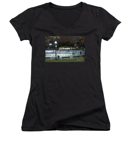 Frog Pond Ice Skating Rink In Boston Commons Women's V-Neck T-Shirt
