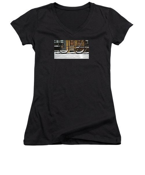 From My Fire Escape - Arches In The Snow Women's V-Neck T-Shirt (Junior Cut) by Miriam Danar