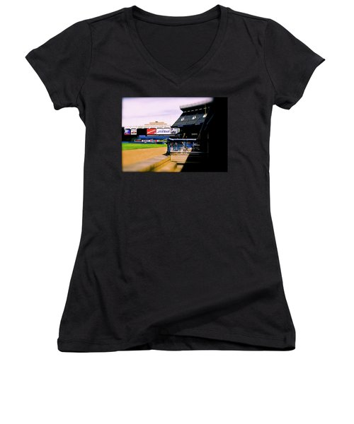 From The Dugout  The Yankee Stadium Women's V-Neck T-Shirt (Junior Cut) by Iconic Images Art Gallery David Pucciarelli
