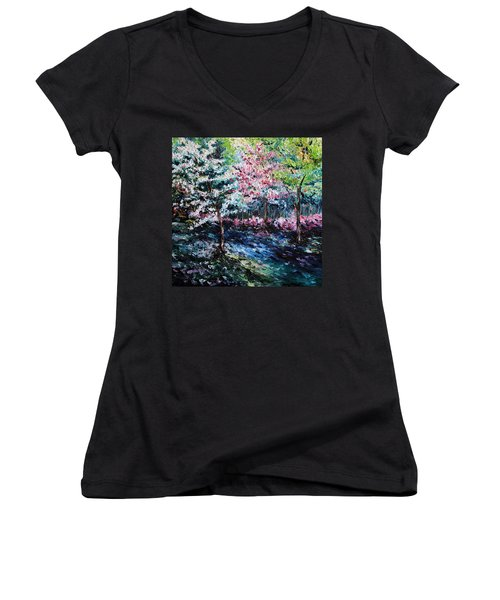 Women's V-Neck T-Shirt (Junior Cut) featuring the painting From The Earth by Meaghan Troup