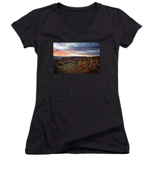 From The Overlook - Colorado National Monument Women's V-Neck T-Shirt
