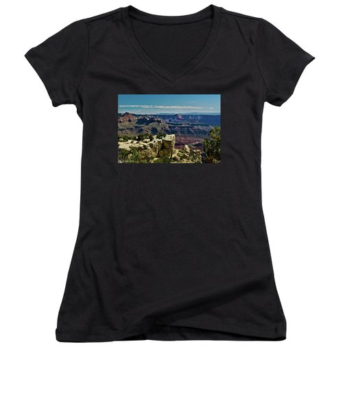 Women's V-Neck T-Shirt (Junior Cut) featuring the photograph From Yaki Point 2 Grand Canyon by Bob and Nadine Johnston