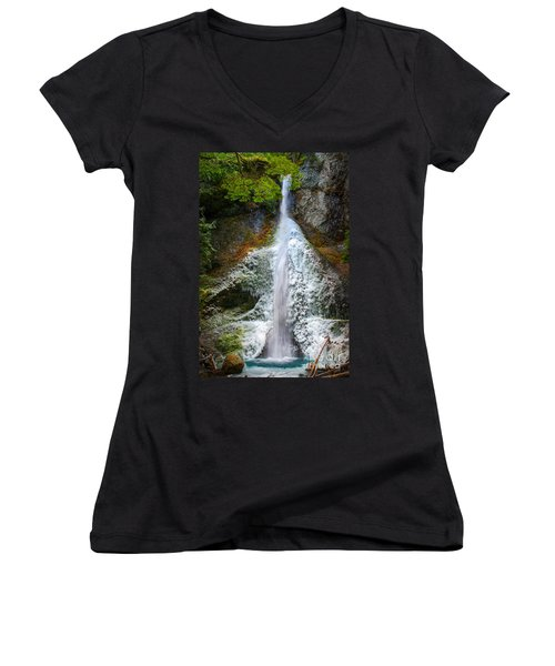 Frozen Marymere Falls Women's V-Neck T-Shirt (Junior Cut) by Inge Johnsson