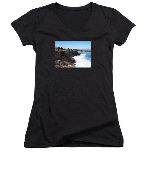 Frozen Quarry Women's V-Neck T-Shirt (Junior Cut) by Catherine Gagne