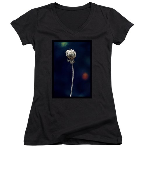 Women's V-Neck T-Shirt (Junior Cut) featuring the photograph Frozen Warmth by Melanie Lankford Photography
