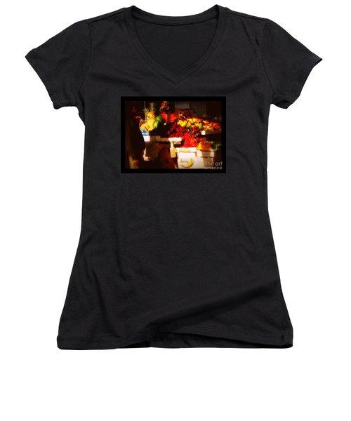 Women's V-Neck T-Shirt (Junior Cut) featuring the photograph Fruit A La Caravaggio by Miriam Danar