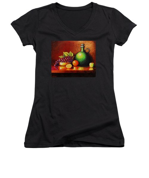 Women's V-Neck T-Shirt (Junior Cut) featuring the painting Fruit And Jug by Gene Gregory
