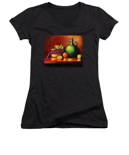 Fruit And Jug Women's V-Neck T-Shirt (Junior Cut) by Gene Gregory
