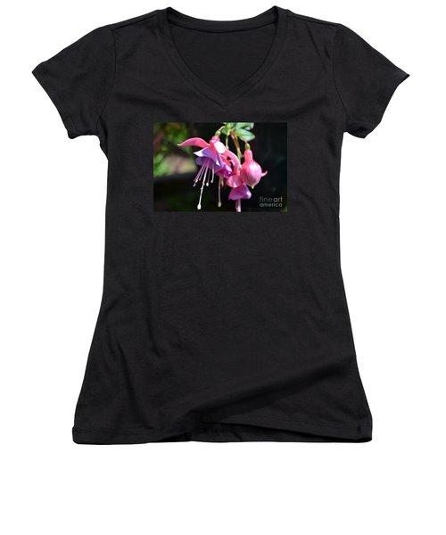 Fuchsia Flower Women's V-Neck